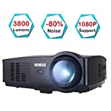 Beamer, WiMiUS T4 3800 Lumens Videobeamer Heimkino-Projektor Unterstützung 1080P 50.000H LED...