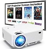 Beamer, H O M P O W Mini Beamer mit Bildschirm, Tragbarer Video Beamer mit 6000 Lumen, Full HD 1080P...