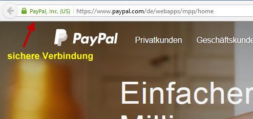 sichere Verbindung zu PayPal