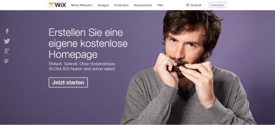 Wix.com - Homepage aus dem Baukasten