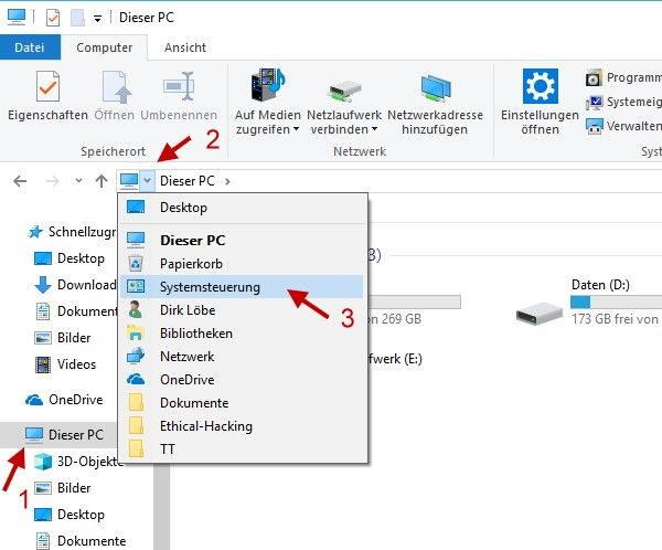 Systemsteuerung über Windows Explorer öffnen