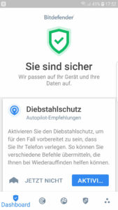 Bitdefender Mobile Security for Android Dashboard