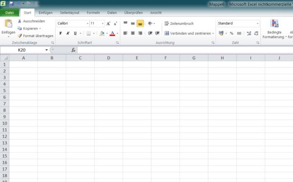 Screenshot Excel aus Microsoft Office